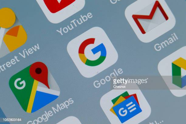 In this photo illustration the logos of the applications Google Maps Google and Gmail are displayed on the screen of a tablet on October 23 2018 in...