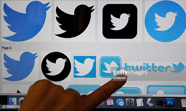 In this photo illustration The logos of the Twitter social network are displayed on a laptop screen in this arranged photograph on September 25 2016...