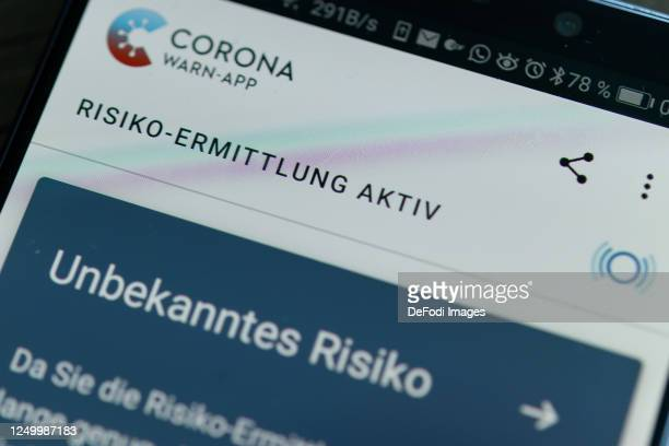 In this photo Illustration The main page with the risk determining activation of the Corona Warn app is seen on an Android platform on June 16 2020...