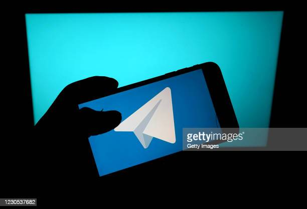 In this photo illustration, the messaging service Telegram app is seen on a mobile phone on January 11, 2021 in London, United Kingdom.