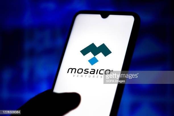 In this photo illustration the Mosaico Negócios de Internet logo displayed on a smartphone.
