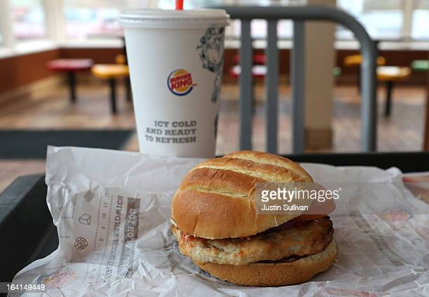 In this photo illustration the new Burger King turkey burger is displayed at a Burger King restaurant on March 20 2013 in Oakland California Burger...