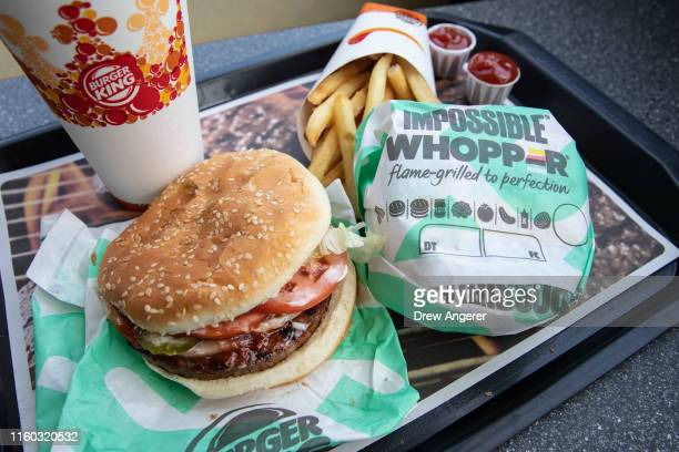 In this photo illustration the new Impossible Whopper sits on a table at a Burger King restaurant on August 8 2019 in the Brooklyn borough of New...