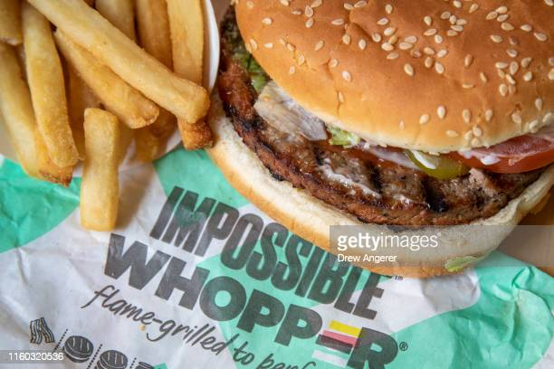 In this photo illustration the new Impossible Whopper sits on a table on August 8 2019 in the Brooklyn borough of New York City On Thursday Burger...