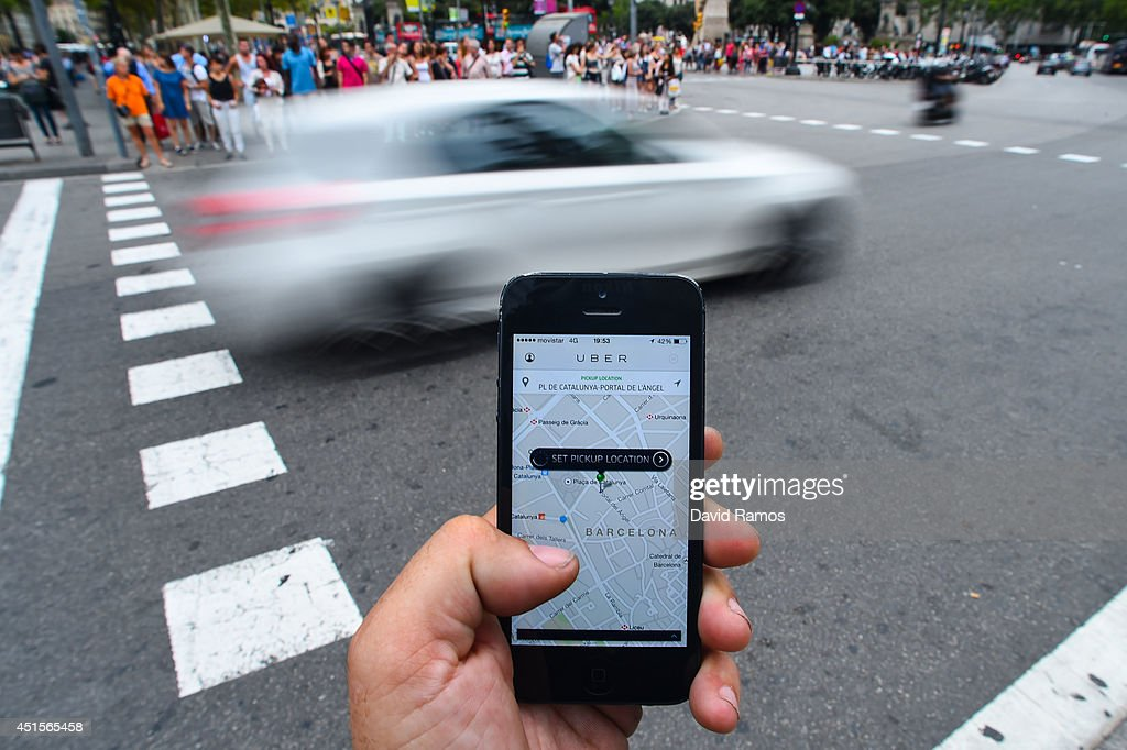 Barcelona Cabs Strike Against Uber Taxi App : News Photo