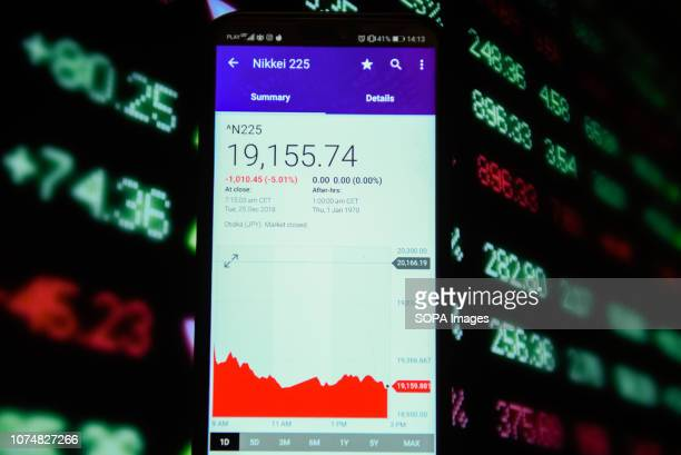 In this photo illustration, the Nikkei 225 stock market value is seen displayed on a mobile phone.