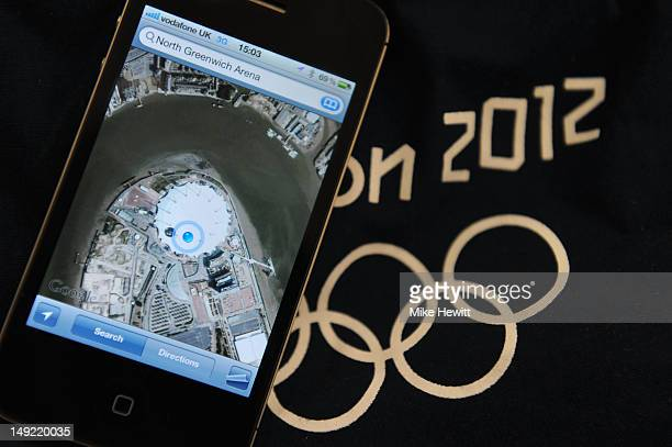 In this photo illustration The North Greenwich Arena is seen on an iPhone's Google maps ahead of the London Olympic Games at the North Greenwich...