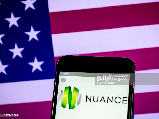 In this photo illustration the Nuance Communications multinational computer software technology corporation logo seen displayed on a smartphone