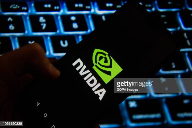In this photo illustration, the Nvidia logo is seen displayed on an Android mobile phone.