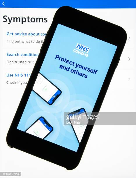 "In this photo illustration the official NHS Covid-19 ""Test and Trace"" contact tracing app is seen on a screen on August 13, 2020 in London, England...."