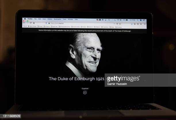 In this photo illustration, the official website of the British Royal Family, www.royal.uk, features Prince Philip, Duke of Edinburgh and includes a...