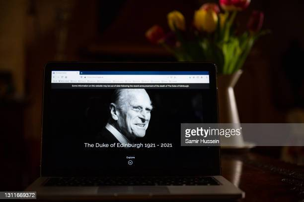 In this photo illustration, the official website of the British Royal Family, www.royal.uk, features Prince Philip, Duke of Edinburgh and include a...