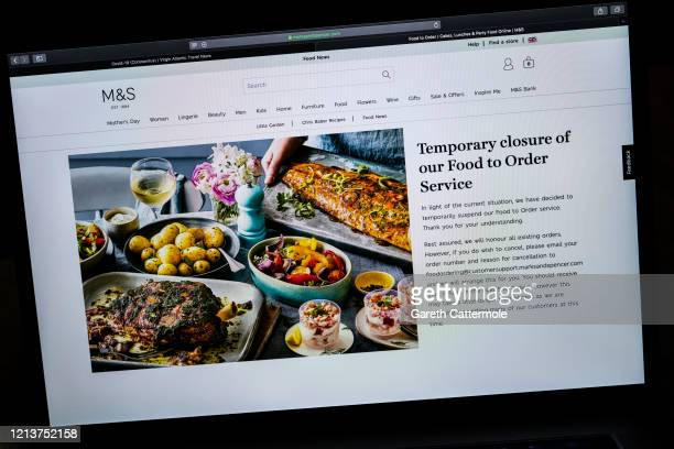 In this photo illustration the online retailer Marks and Spencer advises customers of its current food ordering status on March 19 2020 in Essex...