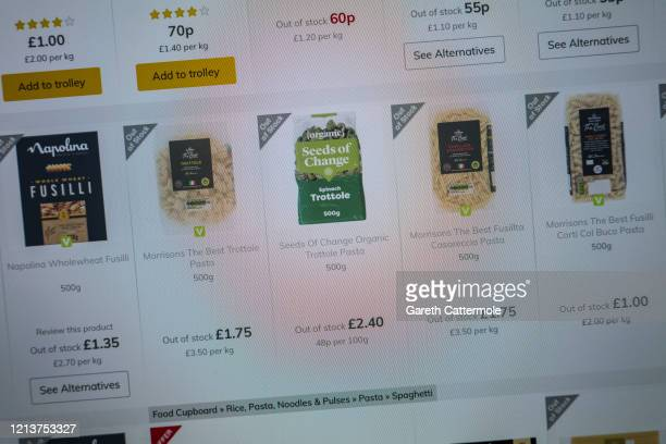 In this photo illustration the online retailer Morrisons advises customers of its current grocery stock levels on March 19 2020 in Essex England Many...