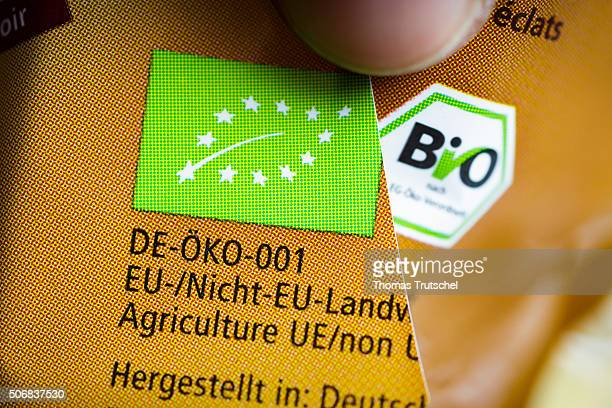 In this photo illustration the organic seal of the European Union and the German state organic seal are on a food package on January 26 2016 in...