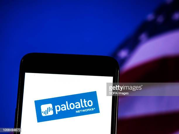 In this photo illustration the Palo Alto Networks logo seen displayed on a smartphone Palo Alto Networks Inc is an American multinational...