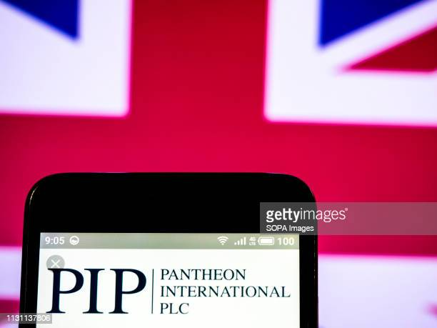 In this photo illustration, the Pantheon International plc logo seen