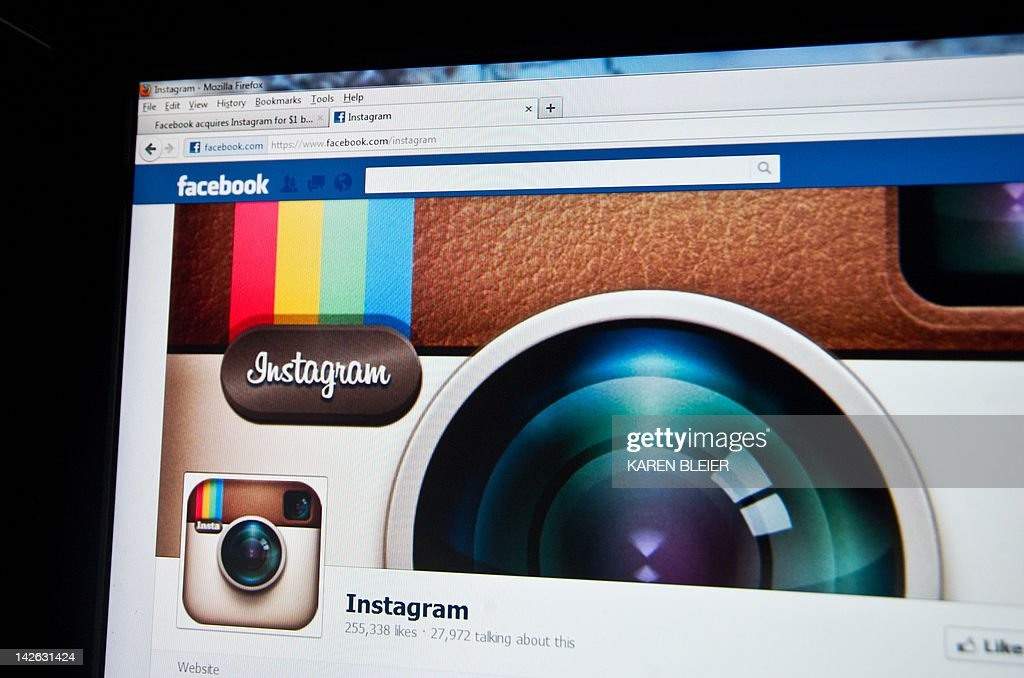 In this photo illustration, the photo-sharing app Instagram fan page is seen on the Facebook website on the Firefox web browser on April 10, 2012 in Washington, DC. Facebook announced April 9, that is acquiring the photo-sharing app Instagram for $1 billion USD. AFP PHOTO / Karen BLEIER