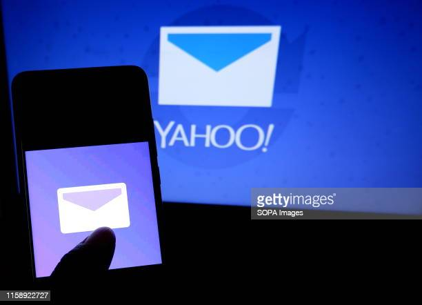 In this photo illustration the popular Email application Yahoo Mail logo seen displayed on a smartphone.