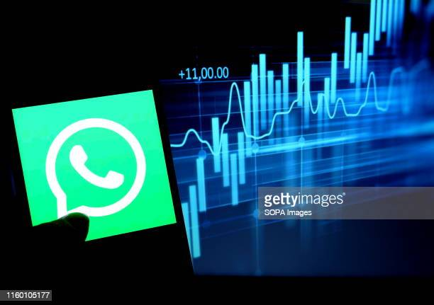 In this photo illustration the popular social media application Whatsapp logo seen displayed on a smartphone