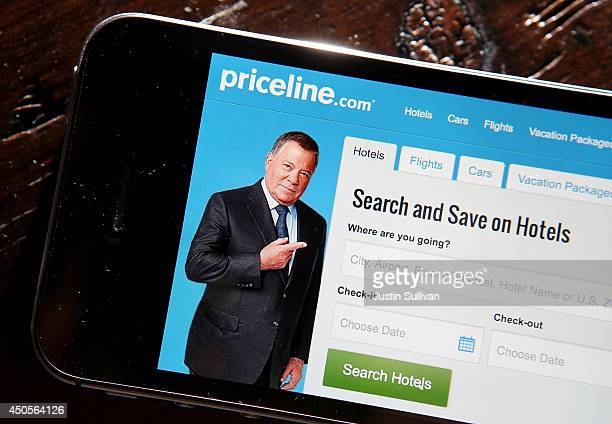 In this photo illustration the Priceline website is displayed on mobile device on June 13 2014 in San Anselmo California Online discount travel...
