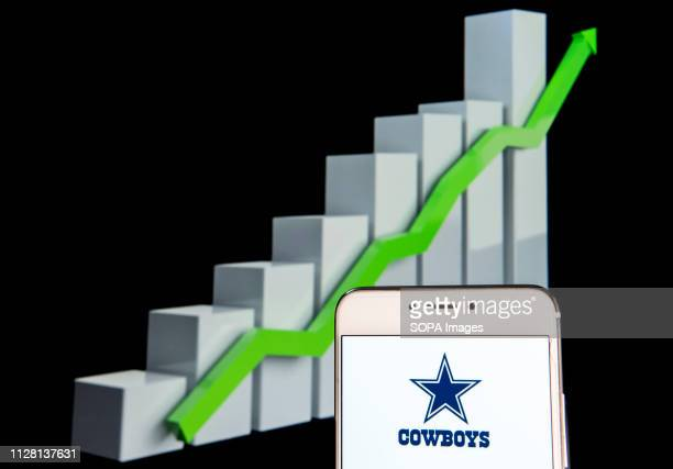 The professional American football team The Dallas Cowboys logo is seen on an android mobile device with an ascent growth chart in the background
