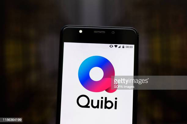 In this photo illustration the Quibi logo is seen displayed on a smartphone