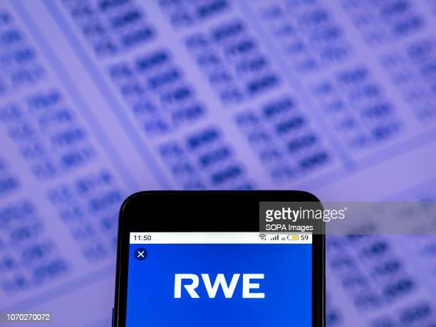 In this photo illustration the RWE AG German electric utilities company logo seen displayed on a smartphone