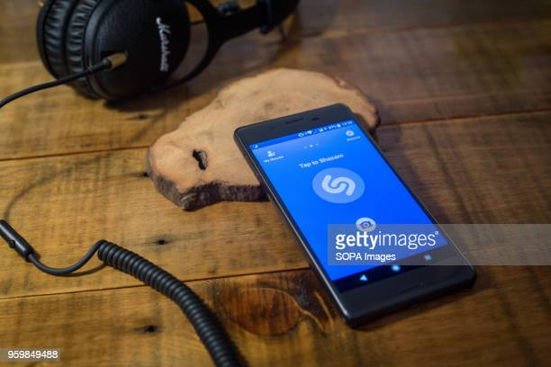 The Shazam application seen displayed on a Android Sony smartphone