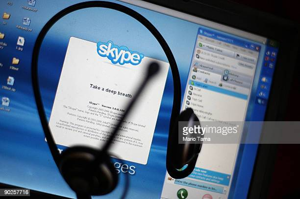 In this photo illustration the Skype internet phone program is seen September 1 2009 in New York City EBay announced it will sell most of its Skype...