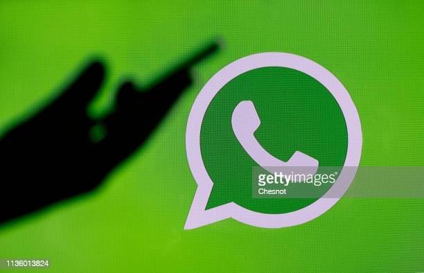 In this photo illustration the social media application logo WhatsApp is displayed on the screen of a computer on March 15 2019 in Paris France...