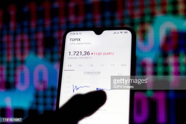 In this photo illustration the stock market data of the Tokyo Stock Price Index is viewed on a smartphone.