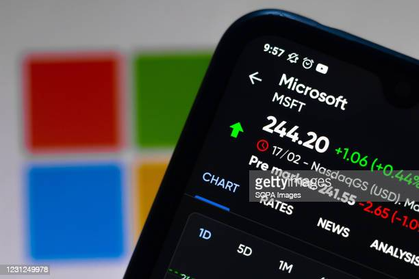 In this photo illustration the stock market graphic of Microsoft Corporation seen displayed on a smartphone with a Microsoft Corporation logo in the...