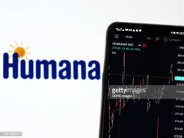 In this photo illustration the stock market information of Humana Inc. Seen displayed on a smartphone with a logo of Humana in the background.