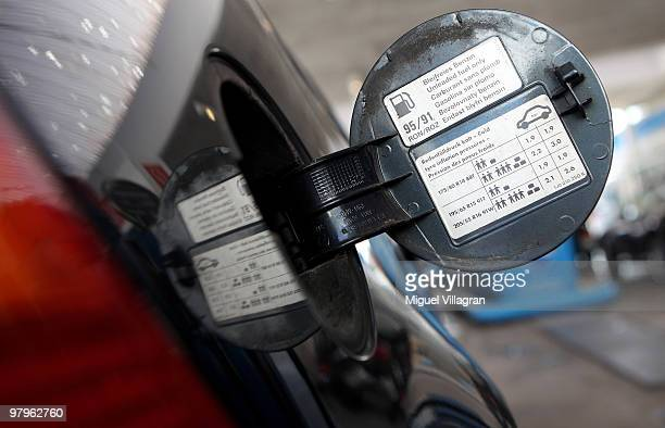 In this photo illustration the tank cap of a car is pictured on March 23 2010 in Munich Germany German President Horst Koehler said higher petrol...