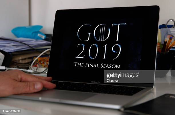 In this photo illustration, the teaser of the US television series 'Game of Thrones' season 8 is displayed on the screen of an Apple laptop on April...