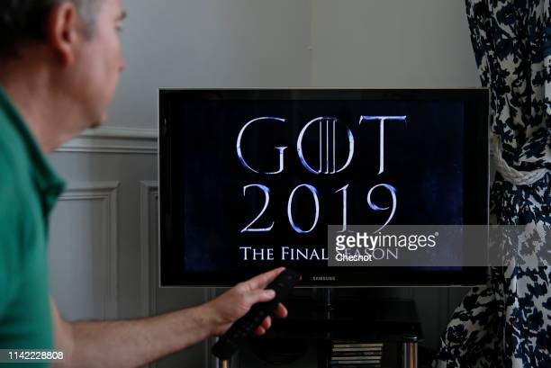 In this photo illustration, the teaser of the US television series 'Game of Thrones' season 8 is displayed on the screen of a television on April 12,...
