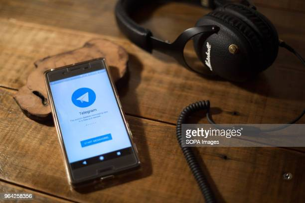 The Telegram application seen display on a Android Sony smartphone