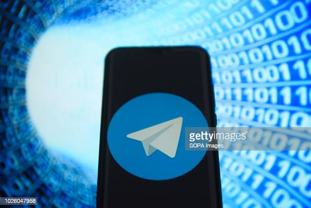 In this photo illustration, the Telegram logo is seen displayed on an Android mobile device.