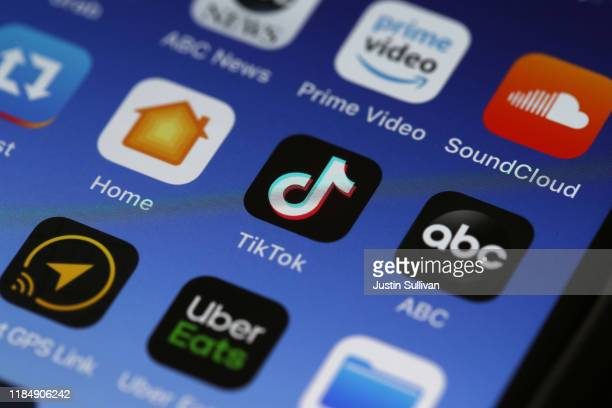 In this photo illustration the Tik Tok app is displayed on an Apple iPhone on November 01 2019 in San Anselmo California The Committee on Foreign...