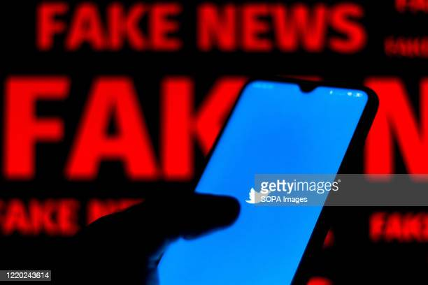 """In this photo illustration the Twitter logo is displayed on a smartphone and a red alerting word """"FAKE NEWS"""" on the blurred background."""