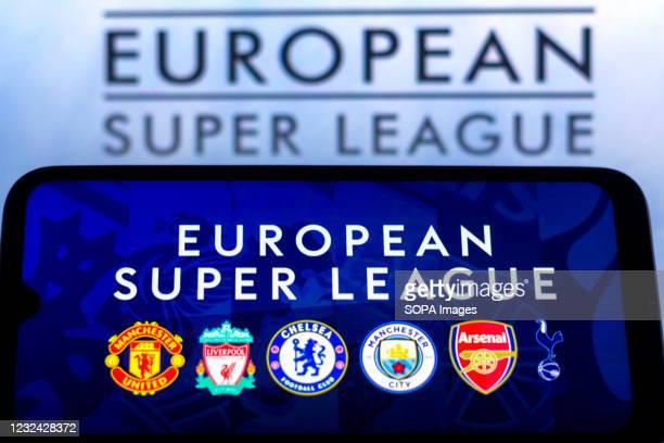 In this photo illustration, the UK football teams that are part of the European Super League seen displayed on a smartphone screen.
