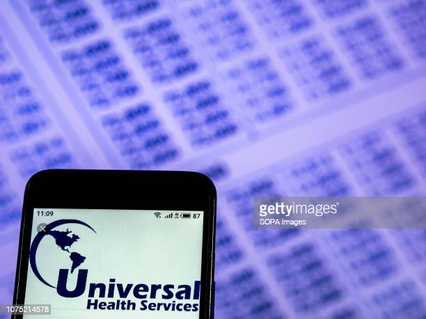 In this photo illustration the Universal Health Services Hospitals company logo seen displayed on a smartphone