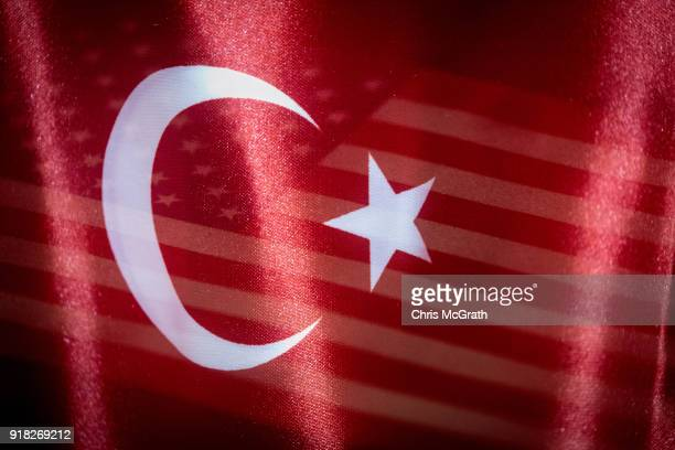 In this photo illustration the US and Turkey flags are seen together on February 14 2018 in Istanbul Turkey US Secretary of State Rex Tillerson is...