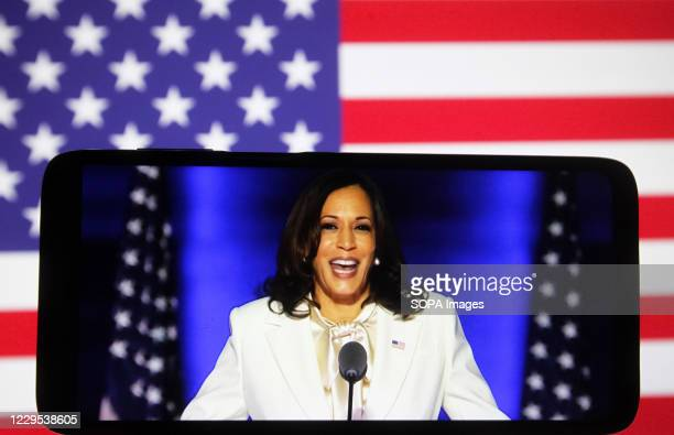 In this photo illustration the US Democratic vice-presidential candidate Kamala Harris speaks during a rally in Wilmington on a YouTube video...