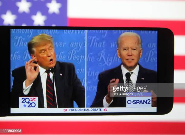 In this photo illustration the US President Donald Trump and Democratic presidential candidate and former US Vice President Joe Biden are seen during...