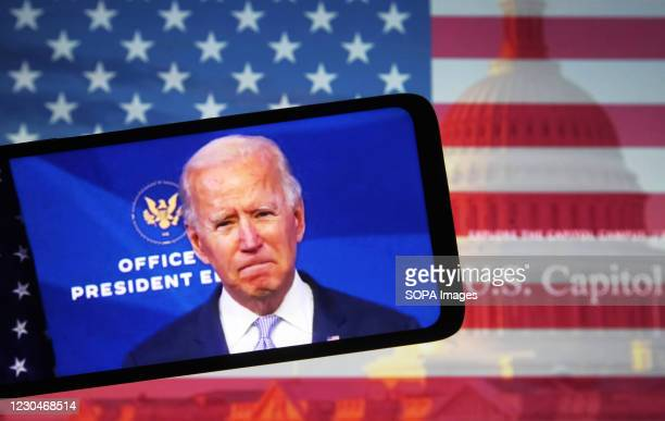 In this photo illustration the US President-elect Joe Biden addresses Trump Supporters while they continue with protests in and near the U.S. Capitol...