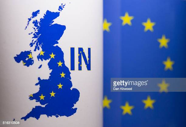 In this photo illustration the word 'IN' is depicted on a mug on March 17 2016 in London United Kingdom The United Kingdom will hold a referendum on...