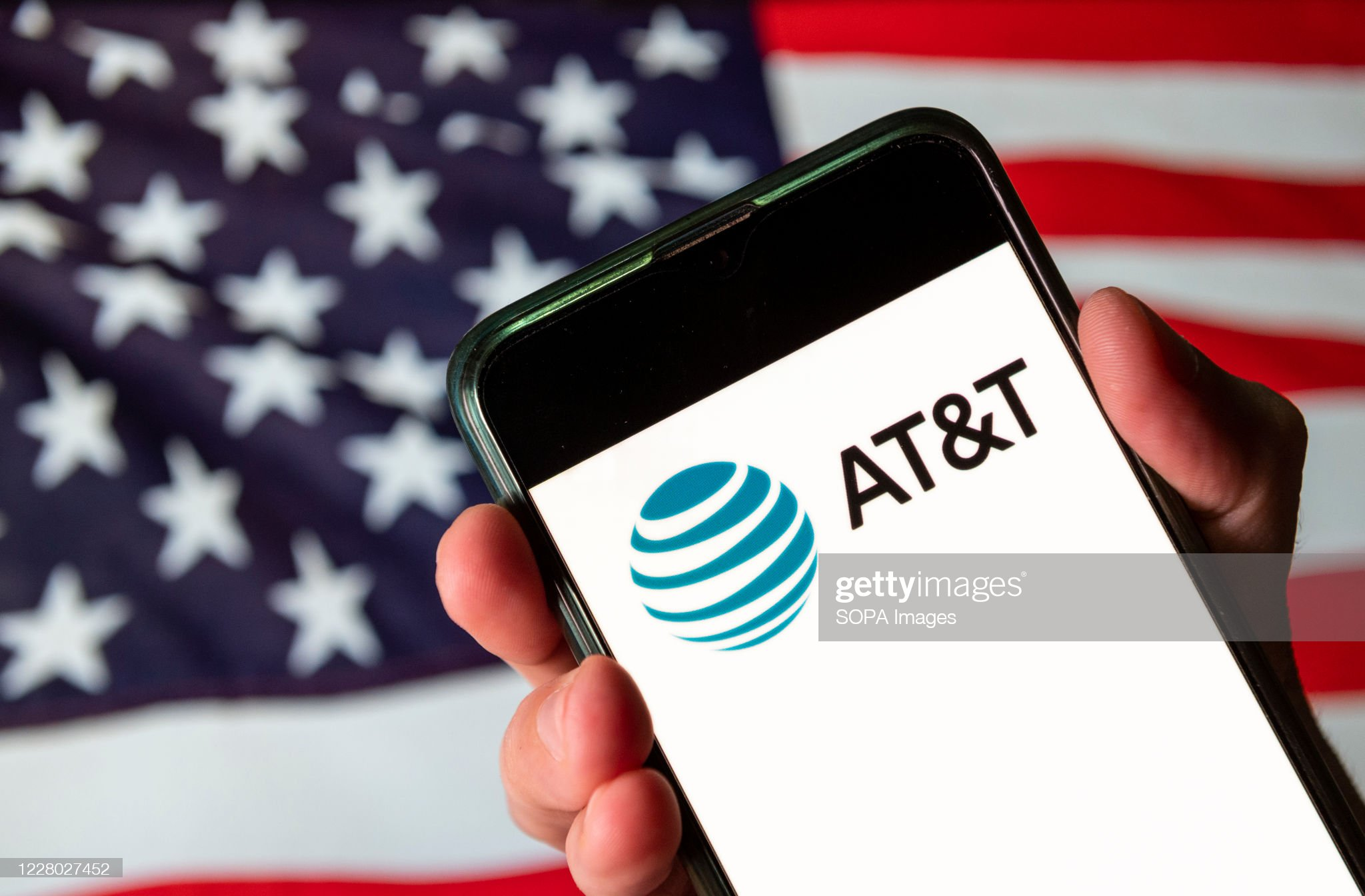 Mobile phone showing AT&T logo