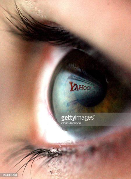 In this photo illustration The Yahoo logo is reflected in the eye of a girl on February 3 2008 in London England Financial experts continue to...